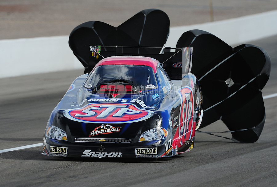 Apr. 2, 2011; Las Vegas, NV, USA: NHRA funny car driver Tony Pedregon during qualifying for the Summitracing.com Nationals at The Strip in Las Vegas. Mandatory Credit: Mark J. Rebilas-