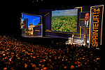 Christian Prudhomme ASO Tour Director presents the stages at the Tour de France 2018 route presentation held at Palais de Congress, Paris, France. 17th October 2017.<br /> Picture: ASO/Bruno Bade | Cyclefile<br /> <br /> <br /> All photos usage must carry mandatory copyright credit (&copy; Cyclefile | ASO/Bruno Bade)