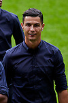 Cristiano Ronaldo walk on the pitch before the UEFA Champions League match between Atletico de Madrid and Juventus at Wanda Metropolitano Stadium in Madrid, Spain. September 17, 2019. (ALTERPHOTOS/A. Perez Meca)