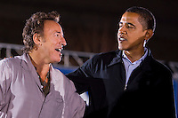 U.S. Democratic presidential nominee Barack Obama with singer Bruce Springsteen,   after the singer performed for Obama at a campaign rally in Cleveland, Ohio..Photo by Brooks Kraft/Corbis........