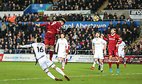 Roberto Firmino of Liverpool heads a late shot at goal during the Premier League match between Swansea City and Liverpool at the Liberty Stadium, Swansea, Wales on 22 January 2018. Photo by Mark Hawkins / PRiME Media Images.