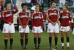 05 December 2008: Stanford's Hillary Heath (21), Austinn Freeman (20), Kelley Birch (12), Shira Averbuch (16), and Kristy Zurmuhlen (18). The Notre Dame Fighting Irish defeated the Stanford Cardinal 1-0 at WakeMed Soccer Park in Cary, NC in an NCAA Division I Women's College Cup semifinal game.