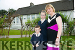 Fybough NS Principal Angela Prendergast Retiring after 34 years. pictured with 6th class Helen O'Shea and Senior Infants Nathan Griffin on Tuesday
