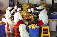 Women peeling potatoes before processing