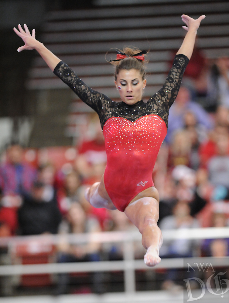 NWA Democrat-Gazette/ANDY SHUPE<br /> Arkansas&rsquo; Paige Zaziski competes Friday, March 11, 2016, in the beam rotation during the 11th-ranked Razorbacks&rsquo; meet with Utah State in Barnhill Arena in Fayetteville. Visit nwadg.com/photos to see more photographs from the meet.