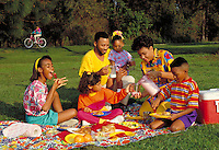AFRICAN-AMERICAN FAMILY HAVING A PICNIC IN THE PARK. AFRICAN-AMERICAN FAMILY. ORLANDO FLORIDA.