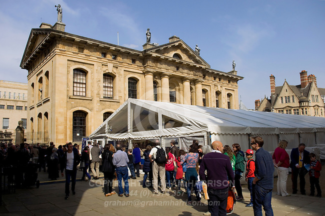 The Blackwell's marquee and the Clarendon Building during the FT Weekend Oxford Literary Festival, Oxford, UK. Sunday 30 March 2014.<br /> <br /> PHOTO COPYRIGHT Graham Harrison<br /> graham@grahamharrison.com<br /> <br /> Moral rights asserted.