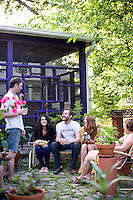 Chapel Hill/Carrboro's welcoming and laid-back community can be seen here as Tricia Mesgian, owner of Carrboro's bar Orange County Social Club,  hosts her Chapel Hill friends at her newly renovated home. (L to R Jeff Clarke, Tricia Mesgian, Brendan Cain, Rebecca Mormino, and Tracy Swain)