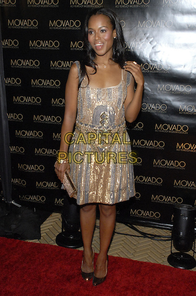 KERRY WASHINGTON.Movado celebrates 60 years of Modern Design and the 2007 Future Legends Awards recipients at the Cooper-Hewitt National Design Museum, New York, New York, USA..October 24th, 2007.full length dress hand clutch purse bag silver gold beige sequins sequined watch bracelet .CAP/ADM/BL.©Bill Lyons/AdMedia/Capital Pictures. *** Local Caption ***