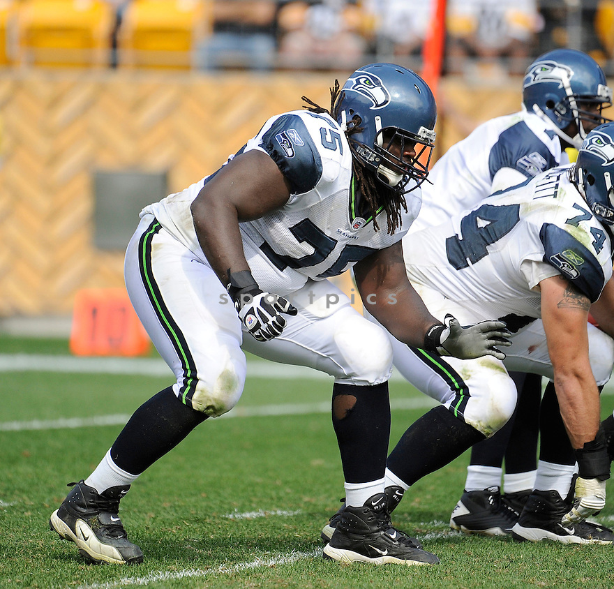 JAMES CARPENTER, of the Seattle Seahawks, in action during the Seahawks game against the Pittsburgh Steelers on September 18, 2011 at Heinz Field in Pittsburgh, PA. The Steelers beat the Seahawks 24-0.