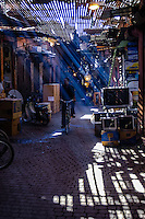 Morocco, Marrakesh. Jemaa El-Fna, the famous Marrakesh souk which service both the common daily needs of the people of the city, and the tourist trade.