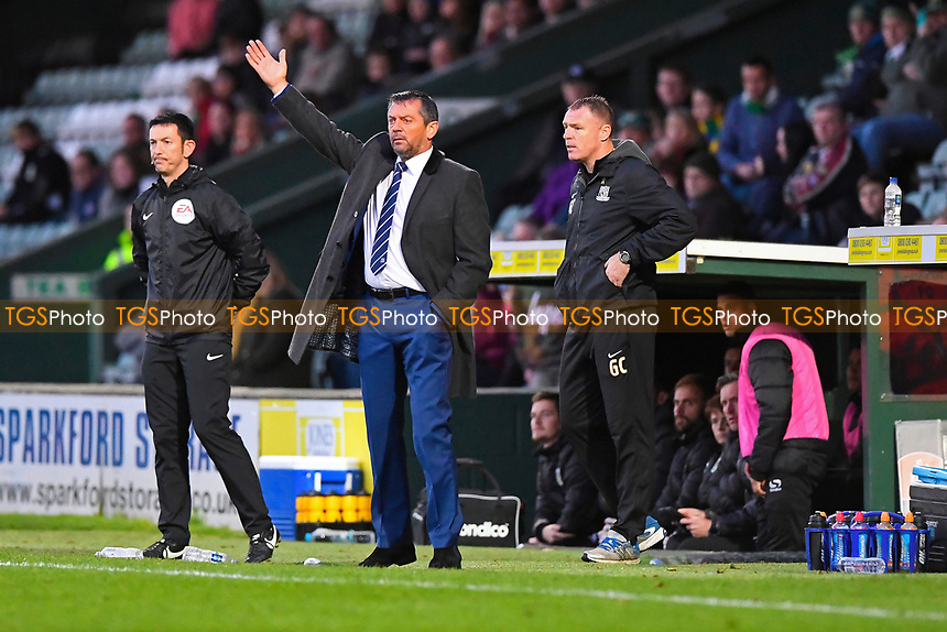 Southend United Manager Phil Brown and Assistant Graham Coughlan watch the action during Yeovil Town vs Southend United, Emirates FA Cup Football at Huish Park on 4th November 2017