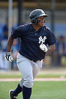 Outfielder Alexander Palma (17) of the New York Yankees organization during a minor league spring training game against the Toronto Blue Jays on March 16, 2014 at the Englebert Minor League Complex in Dunedin, Florida.  (Mike Janes/Four Seam Images)
