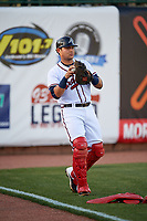 Mississippi Braves catcher Alex Jackson (25) warms up before a game against the Mobile BayBears on May 7, 2018 at Trustmark park in Pearl, Mississippi.  Mobile defeated Mississippi 5-0.  (Mike Janes/Four Seam Images)