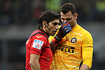 Daniele Padelli of Inter discusses with referee Gianpaolo Calvarese during the Coppa Italia match at Giuseppe Meazza, Milan. Picture date: 12th February 2020. Picture credit should read: Jonathan Moscrop/Sportimage
