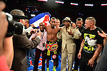 MIAMI, FL - JULY 10: Rances Barthelemy (black short)  in the ring fighting at the Iron Mike Judgement Day boxing match. Barthelemy won a unanimous decision over Mendez and captured the International Boxing Federation junior-lightweight title. at AmericanAirlines Arena on July 10, 2014 in Miami, Florida.  (Photo by Johnny Louis/jlnphotography.com)