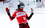 18th March 2018, Winterberg, Germany;  Snowboard World Cup, team parallel slalom. Julia Dujmovits of Austria celebrates at the finish as her team takes 3rd place