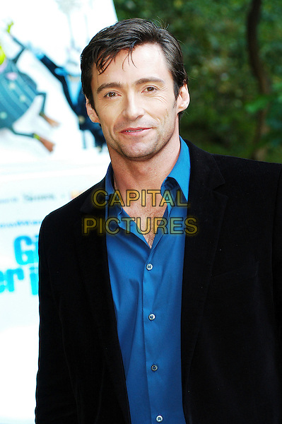 "HUGH JACKMAN.Photocall for ""Flushed Away"", Hotel De Russie, Rome, Italy..November 28th 2006.half length black blue jacket .CAP/CAV.©Luca Cavallari/Capital Pictures"