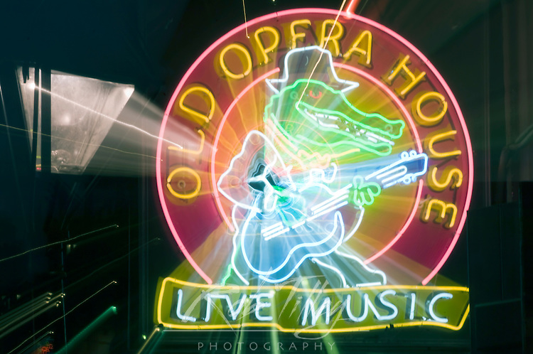 Loisiana, New Orleans, Bourbon Street, Old Opera House Neon Sign (Zoom Blur)