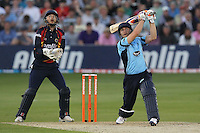 Luke Wright of Sussex hits six runs for his team - Essex Eagles vs Sussex Sharks - Friends Life T20 Cricket at the Ford County Ground, Chelmsford, Essex - 28/06/12 - MANDATORY CREDIT: Gavin Ellis/TGSPHOTO - Self billing applies where appropriate - 0845 094 6026 - contact@tgsphoto.co.uk - NO UNPAID USE.