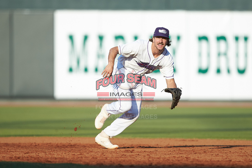 Winston-Salem Dash first baseman Jameson Fisher (11) on defense against the Carolina Mudcats at BB&T Ballpark on June 1, 2019 in Winston-Salem, North Carolina. The Mudcats defeated the Dash 6-3 in game one of a double header. (Brian Westerholt/Four Seam Images)