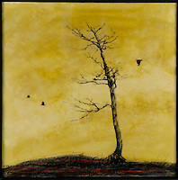 Vibrant yellow sky with bare tree silhouette Mixed media encaustic photo transfer by Jeff League.