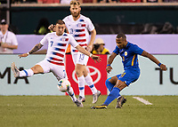 PHILADELPHIA, PA - JUNE 30: Gevaro Nepomuceno #11 drives the ball against Paul Arriola #7 during a game between Curaçao and USMNT at Lincoln Financial Field on June 30, 2019 in Philadelphia, Pennsylvania.