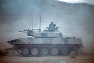 Fort Irwin, California - September 17, 1985. BMD Soviet tank and U.S. military personal training at the National Training Center located in the Mojave Desert. Opened on October 16, 1980, this facility is the primary training area for the United States Military.