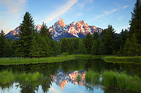 Daybreak at Shwabackers Landing, Grand Teton National Park<br />