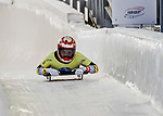 8 January 2016: Tina Herman, competing for Germany, crosses the finish line on her first run of the BMW IBSF World Cup Skeleton race at the Olympic Sports Track in Lake Placid, New York, USA. Mandatory Credit: Ed Wolfstein Photo *** RAW (NEF) Image File Available ***