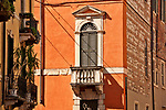 Architectural detail of a balcony in the historical city center