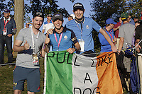 Eoin Corcoran nd Jack Galvin from Cork with Niall Horan during the Friday afternoon fourball at the Ryder Cup, Hazeltine national Golf Club, Chaska, Minnesota, USA.  30/09/2016<br /> Picture: Golffile | Fran Caffrey<br /> <br /> <br /> All photo usage must carry mandatory copyright credit (&copy; Golffile | Fran Caffrey)