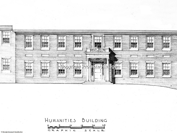 Pittsburgh PA: An Ingham, Boyd and Pratt rendering of the new Humanities building at the Pennsylvania College for Women's campus. Ingham, Boyd and Pratt Architect's various designs were submitted from 1948 through 1952 with construction starting in 1953. Pennsylvania College for Women was renamed Chatham College in 1955.