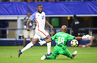 Arlington, TX - Saturday July 22, 2017: Jozy Altidore scores his goal during a 2017 Gold Cup Semifinal match between the men's national teams of the United States (USA) and Costa Rica (CRC) at AT&T stadium.