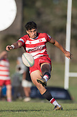 Kalione Hala clears the ball downfield. Counties Manukau Premier 1 Club Rugby game between Karaka and Waiuku, played at the Karaka Sports Park on Saturday May 11th 2019. Karaka won the game 33 - 14 after leading 14 - 7 at halftime.<br /> Photo by Richard Spranger.