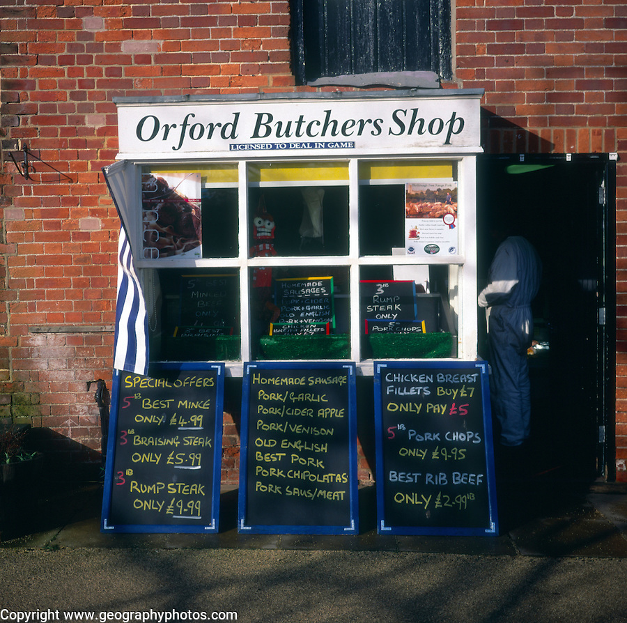 Small village butcher shop, Orford, Suffolk, England