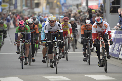 02.04.2015, Flanders, Belgium. Cycling Three Days of De Panne Stage 3.  Katusha 2015, Lotto Soudal 2015, Kristoff Alexander, Greipel Andre, cross the finish line in De Panne
