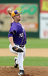 SIOUX FALLS, SD - MAY 24:  Preston Church #33 from Western Illinois delivers a pitch against NDSU in the first inning of the 2014 Summit League Baseball Championship game Saturday afternoon at the Sioux Falls Stadium. (Photo by Dave Eggen/Inertia)