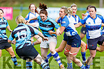 Siobhan Fleming of Tralee putting Grace Hickey of  Shannon under pressure in the Ladies Munster league in O'Dowd Park on Sunday.