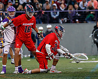 Blake Goodman (#30) picks up a ground ball near the goal as UAlbany Men's Lacrosse defeats Richmond 18-9 on May 12 at Casey Stadium in the NCAA tournament first round.
