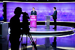 Candidates in the left-wing primary for the 2017 French presidential election, former French education minister Benoit Hamon (L) and former French prime minister Manuel Valls, take part in  a televised debate ahead of the primary's second-round, in Paris, France on January 25, 2017. Photo by Laurent Chamussy/Pool/ABACAPRESS.COM  | 579794_066 Paris France