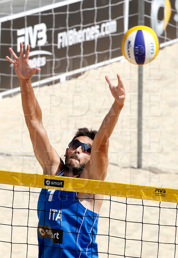 Italy's Paolo Nicolai in action during the match between Italy and Austria at the Beach Volleyball World Tour Grand Slam, Foro Italico, Rome, 21 June 2013.<br /> UPDATE IMAGES PRESS/Isabella Bonotto