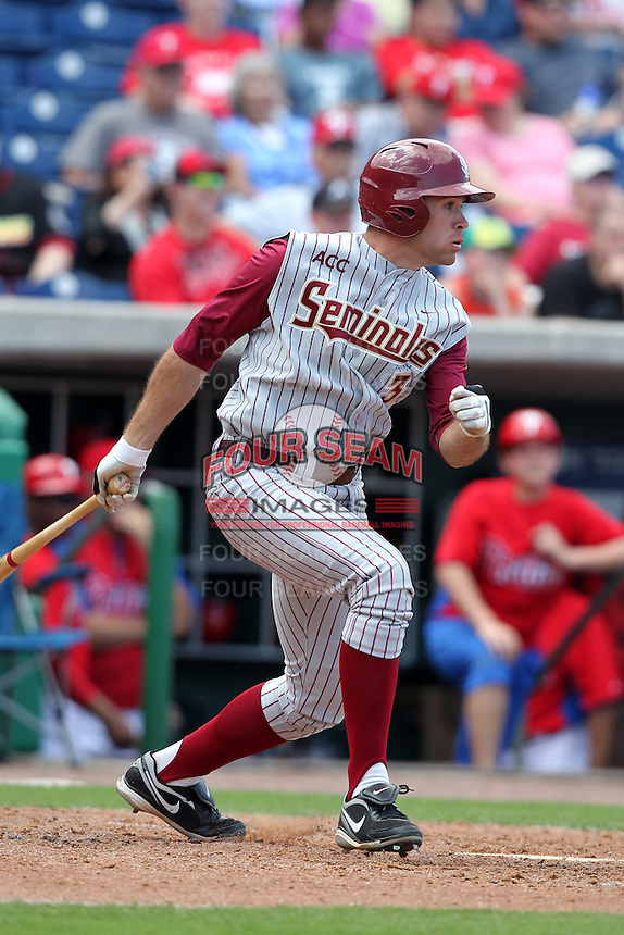 Florida State Seminoles Sean Gilmartin #3 during a scrimmage vs the Philadelphia Phillies  at Bright House Field in Clearwater, Florida;  February 24, 2011.  Philadelphia defeated Florida State 8-0.  Photo By Mike Janes/Four Seam Images