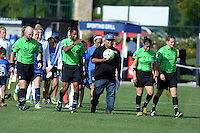 Kansas City, MO - Sunday August 28, 2016: Officials, Christina Unkel prior to a regular season National Women's Soccer League (NWSL) match between FC Kansas City and the Boston Breakers at Swope Soccer Village.