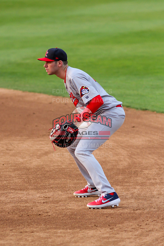 Peoria Chiefs first baseman Brady Whalen (7) during a Midwest League game against the Wisconsin Timber Rattlers on May 31, 2019 at Fox Cities Stadium in Appleton, Wisconsin. Peoria defeated Wisconsin 3-0. (Brad Krause/Four Seam Images)