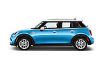 Car Driver side profile view of a 2015 MINI Cooper S 4 Door 4 Door Hatchback Side View