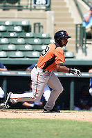 Baltimore Orioles outfielder Oswill Lartiguez (29) during an Instructional League game against the Tampa Bay Rays on September 15, 2014 at Ed Smith Stadium in Sarasota, Florida.  (Mike Janes/Four Seam Images)