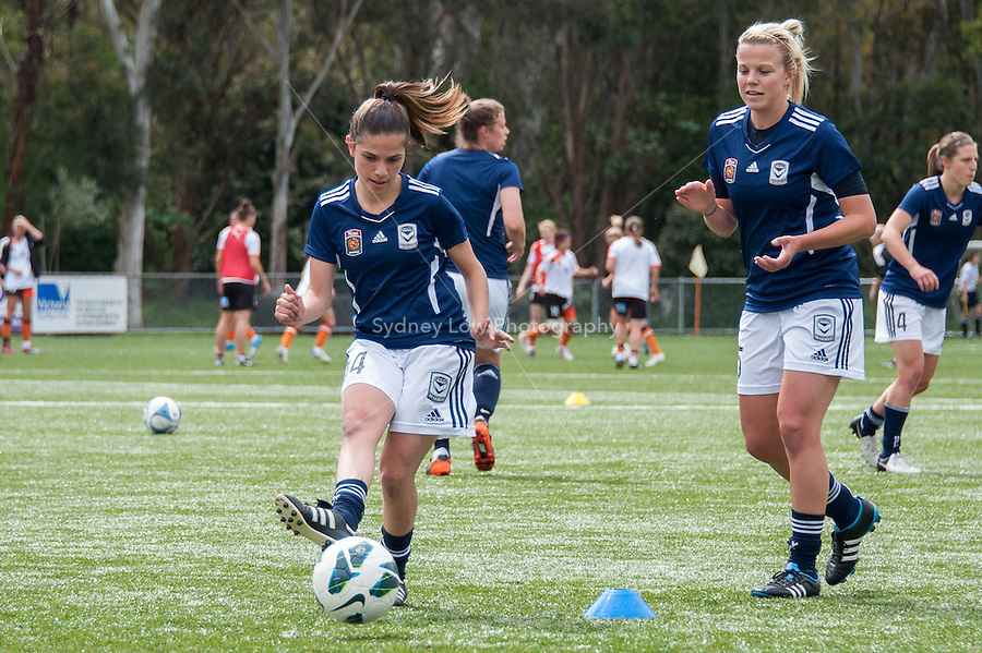 MELBOURNE - 27 October: Victory players warm up before round two of the 2012/13 W-League between Melbourne Victory and Brisbane Roar at the Veneto Club, Bulleen. (Photo by Sydney Low/syd-low.com/#MVFC)