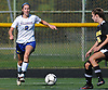 Maureen McNierney #9 of Kellenberg, left, looks to pass during a non-league varsity girls soccer game against host Wantagh High School on Saturday, Sept. 29, 2018. She extended a 1-0 Kellenberg lead with two goals late in the second half en route to the team's 3-0 win.