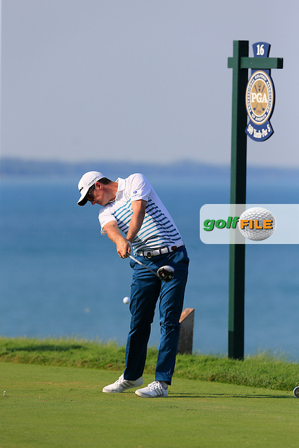 Justin Rose (ENG) tees off the 16th tee during Sunday's Final Round of the 97th US PGA Championship 2015 held at Whistling Straits, Mosel, Kohler, Wisconsin, United States of America. 16/08/2015.<br /> Picture Eoin Clarke, www.golffile.ie